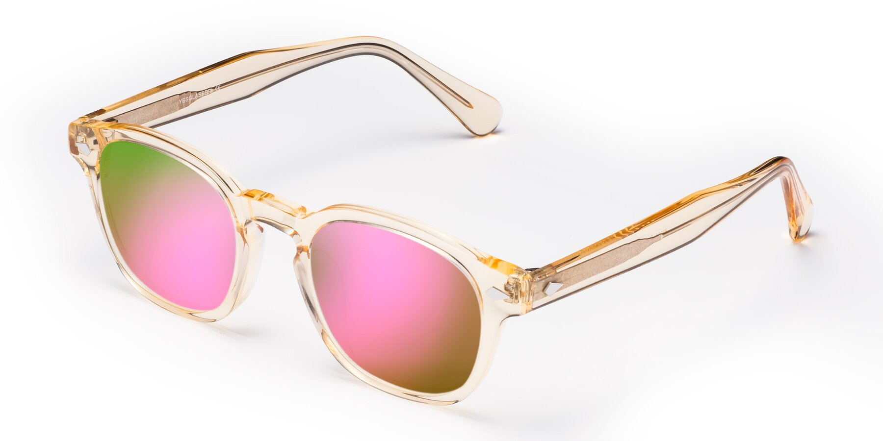 Angle of WALL-E in Translucent Brown with Pink Mirrored Lenses