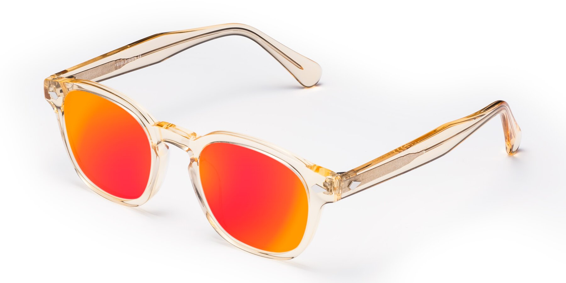 Angle of WALL-E in Translucent Brown with Red Gold Mirrored Lenses