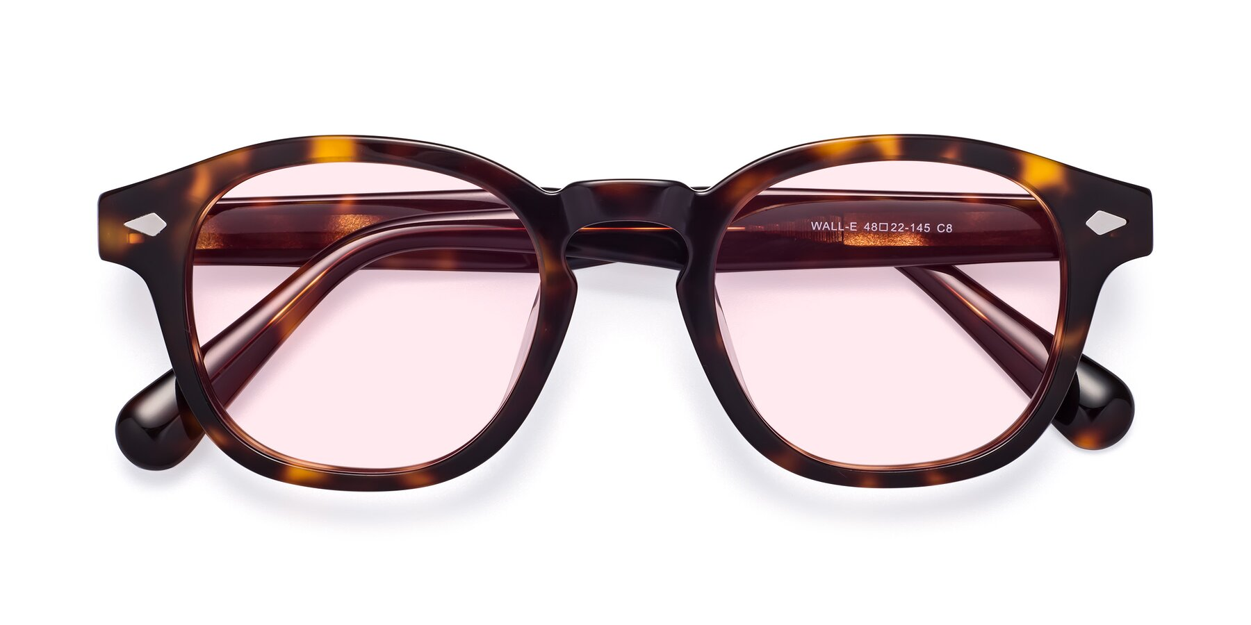 Folded Front of WALL-E in Tortoise with Light Pink Tinted Lenses