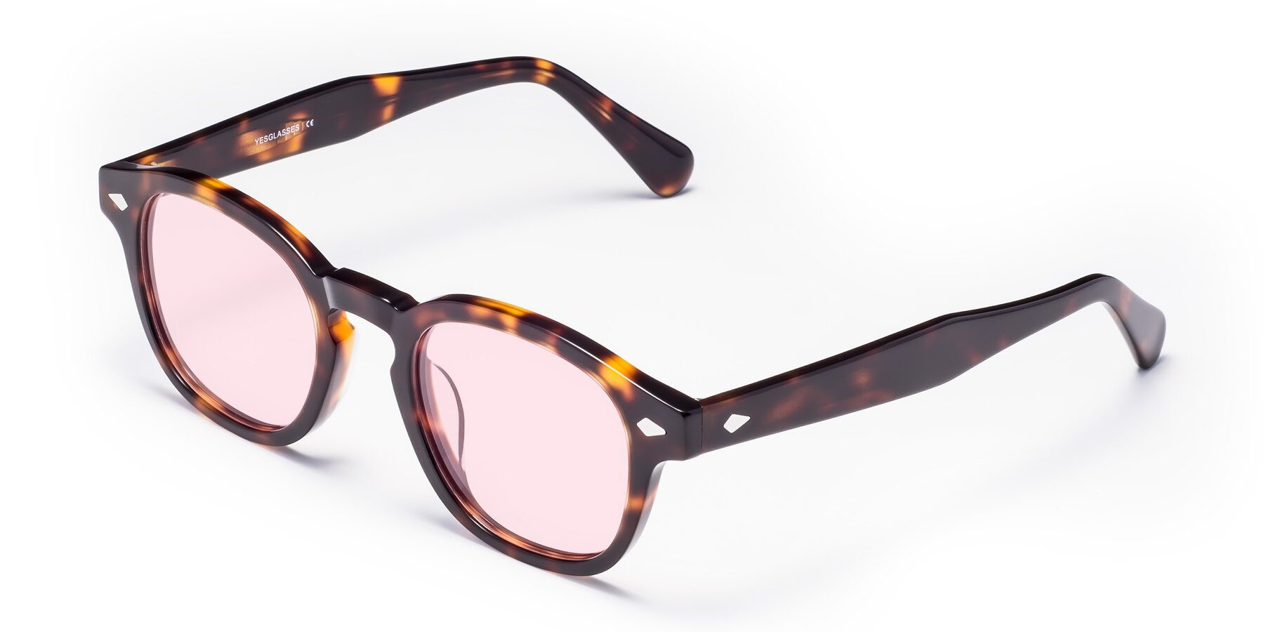 Angle of WALL-E in Tortoise with Light Pink Tinted Lenses