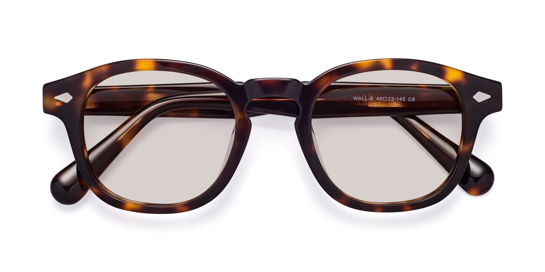 Folded Front of WALL-E in Tortoise with Light Brown Tinted Lenses