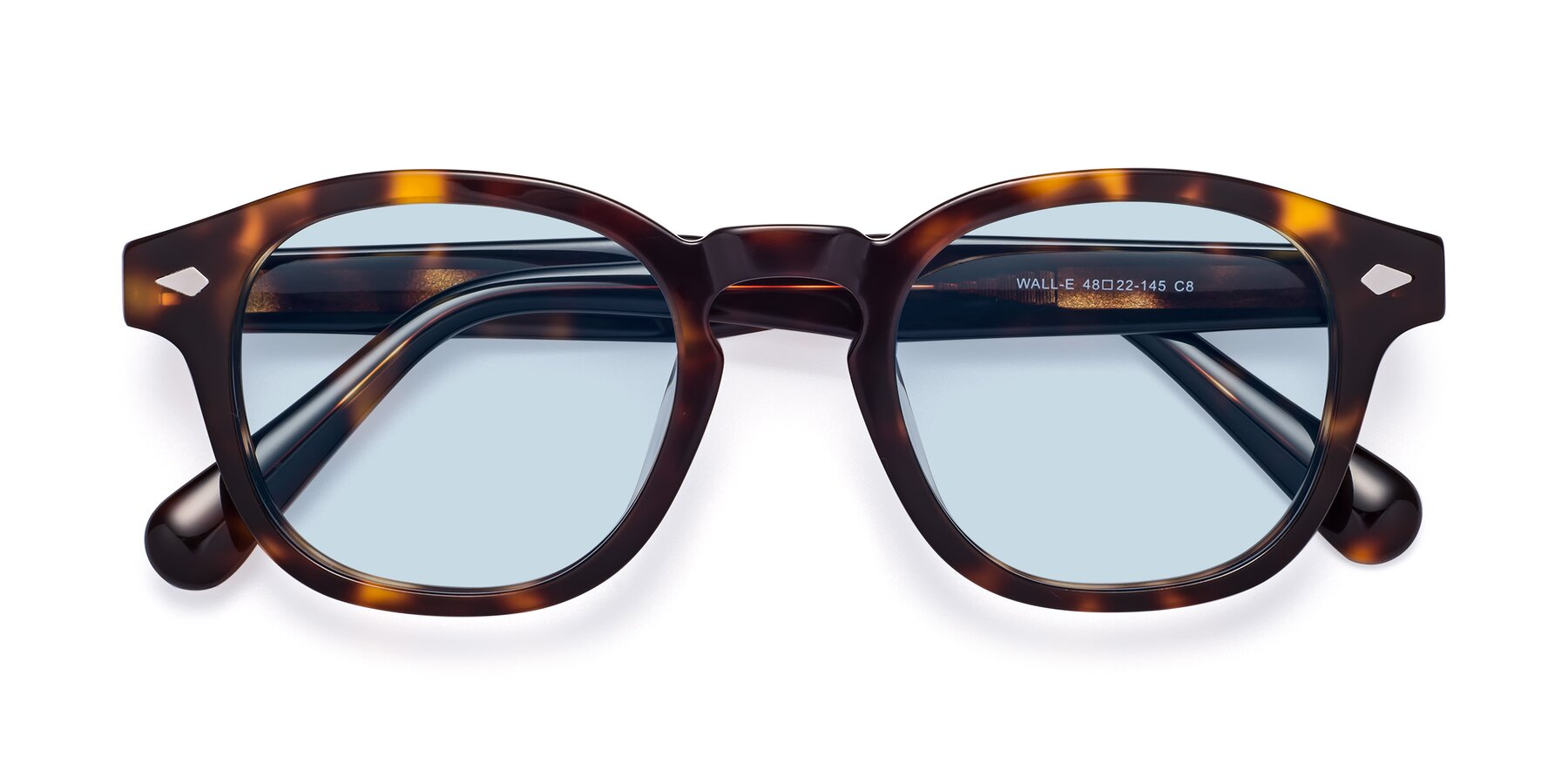 Folded Front of WALL-E in Tortoise with Light Blue Tinted Lenses