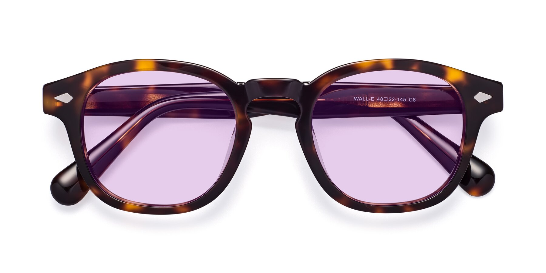 Folded Front of WALL-E in Tortoise with Light Purple Tinted Lenses