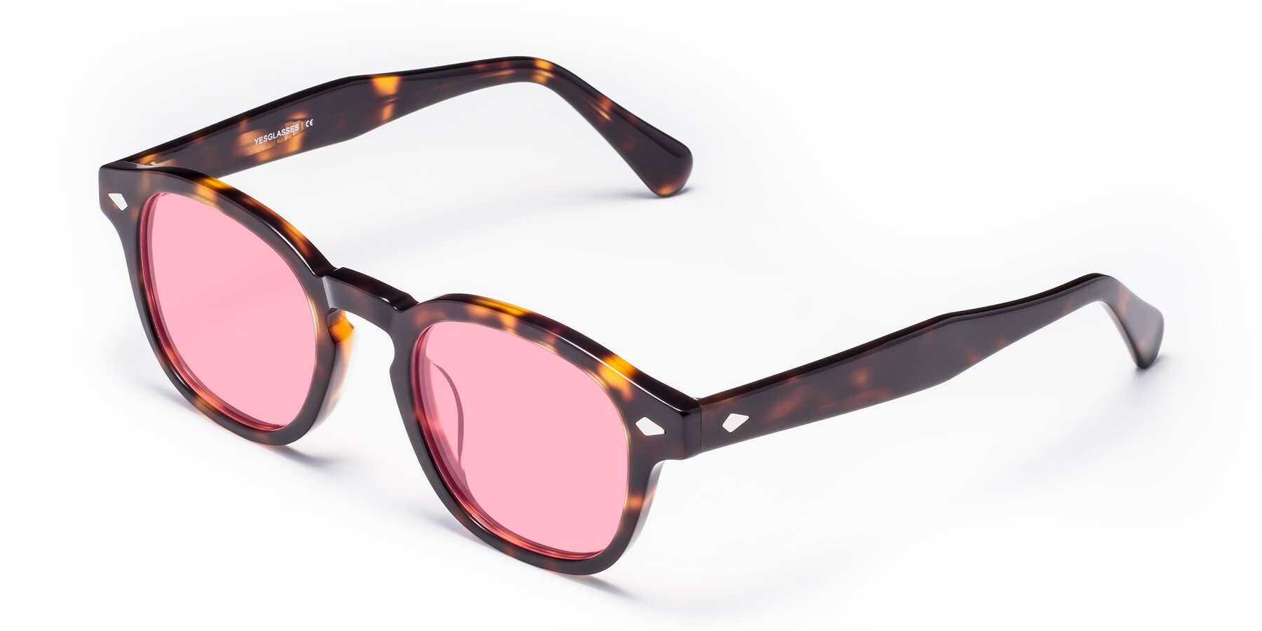 Angle of WALL-E in Tortoise with Medium Pink Tinted Lenses