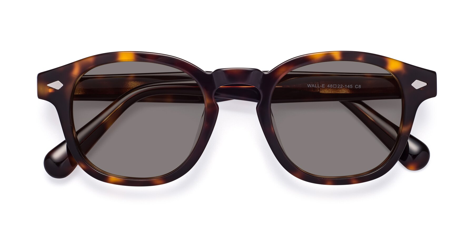 Folded Front of WALL-E in Tortoise with Medium Gray Tinted Lenses