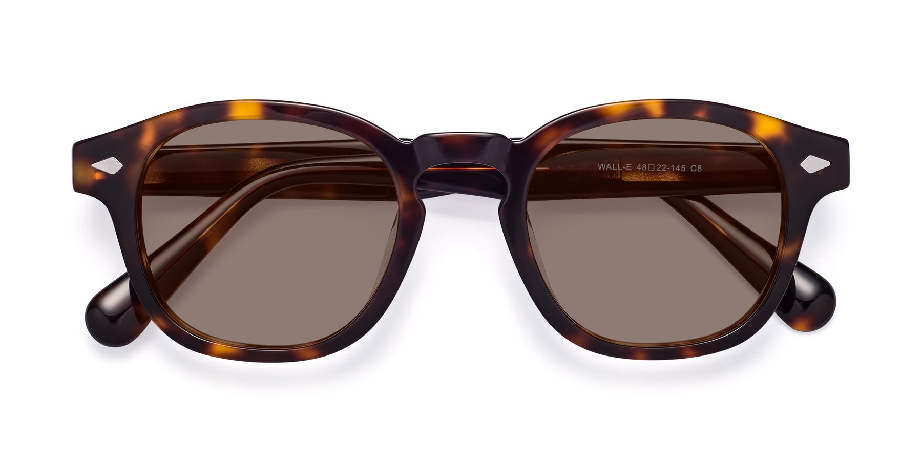 Folded Front of WALL-E in Tortoise with Medium Brown Tinted Lenses
