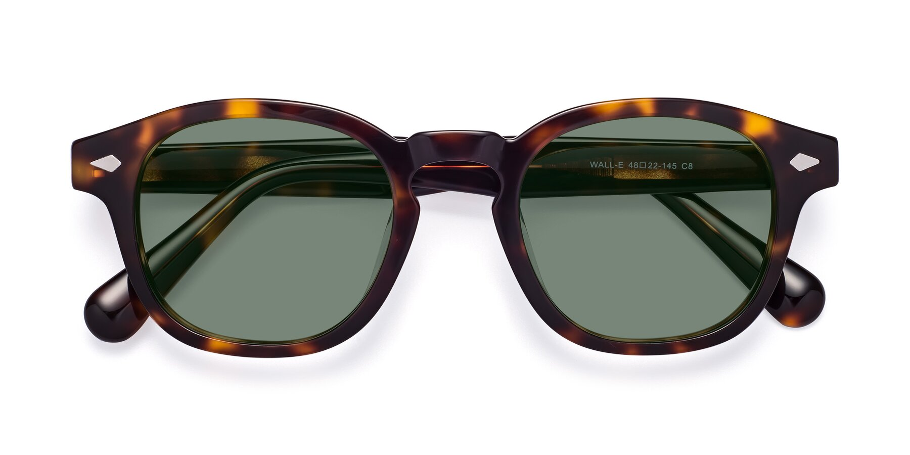 Folded Front of WALL-E in Tortoise with Medium Green Tinted Lenses