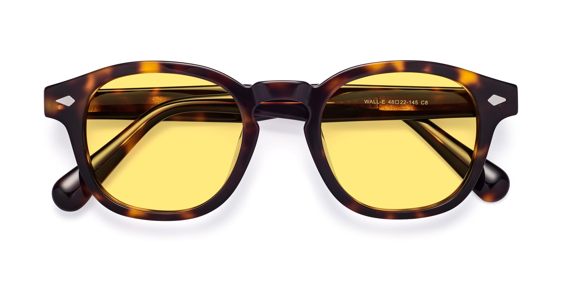 Folded Front of WALL-E in Tortoise with Medium Yellow Tinted Lenses