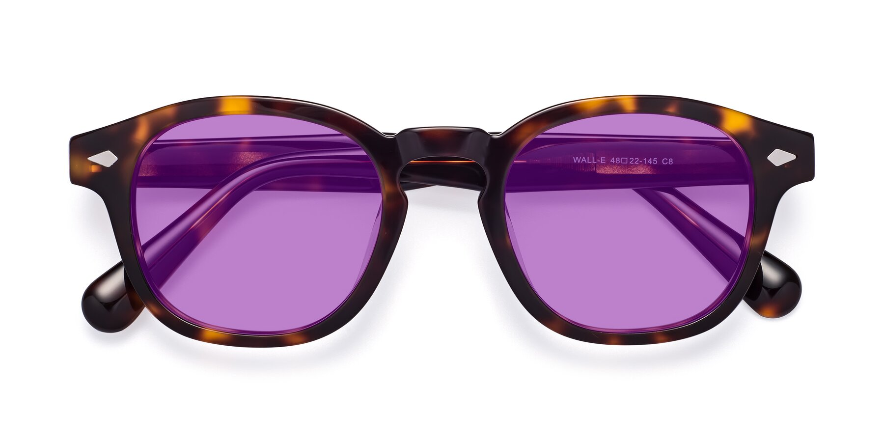 Folded Front of WALL-E in Tortoise with Medium Purple Tinted Lenses