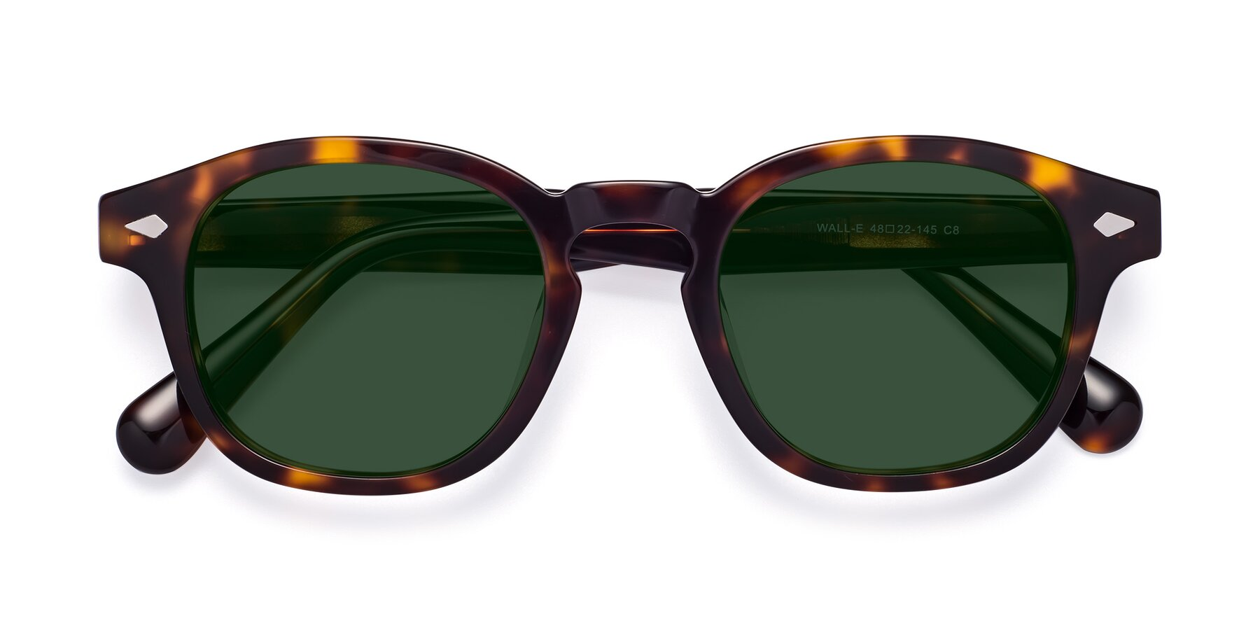 Folded Front of WALL-E in Tortoise with Green Tinted Lenses