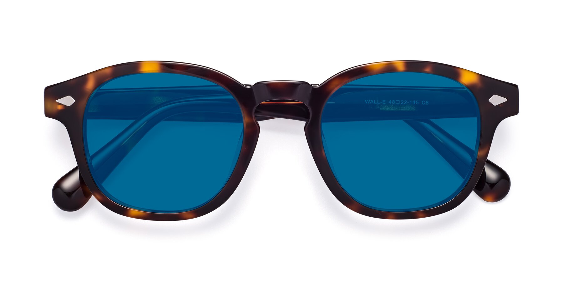 Folded Front of WALL-E in Tortoise with Blue Tinted Lenses