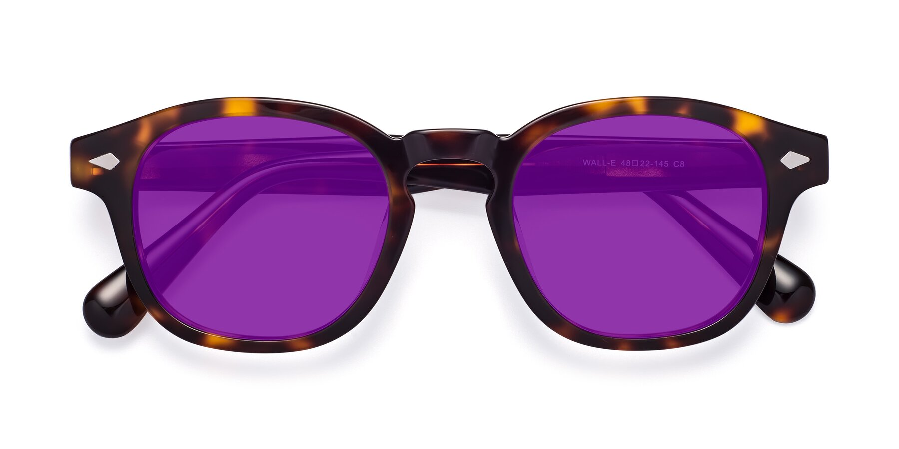 Folded Front of WALL-E in Tortoise with Purple Tinted Lenses
