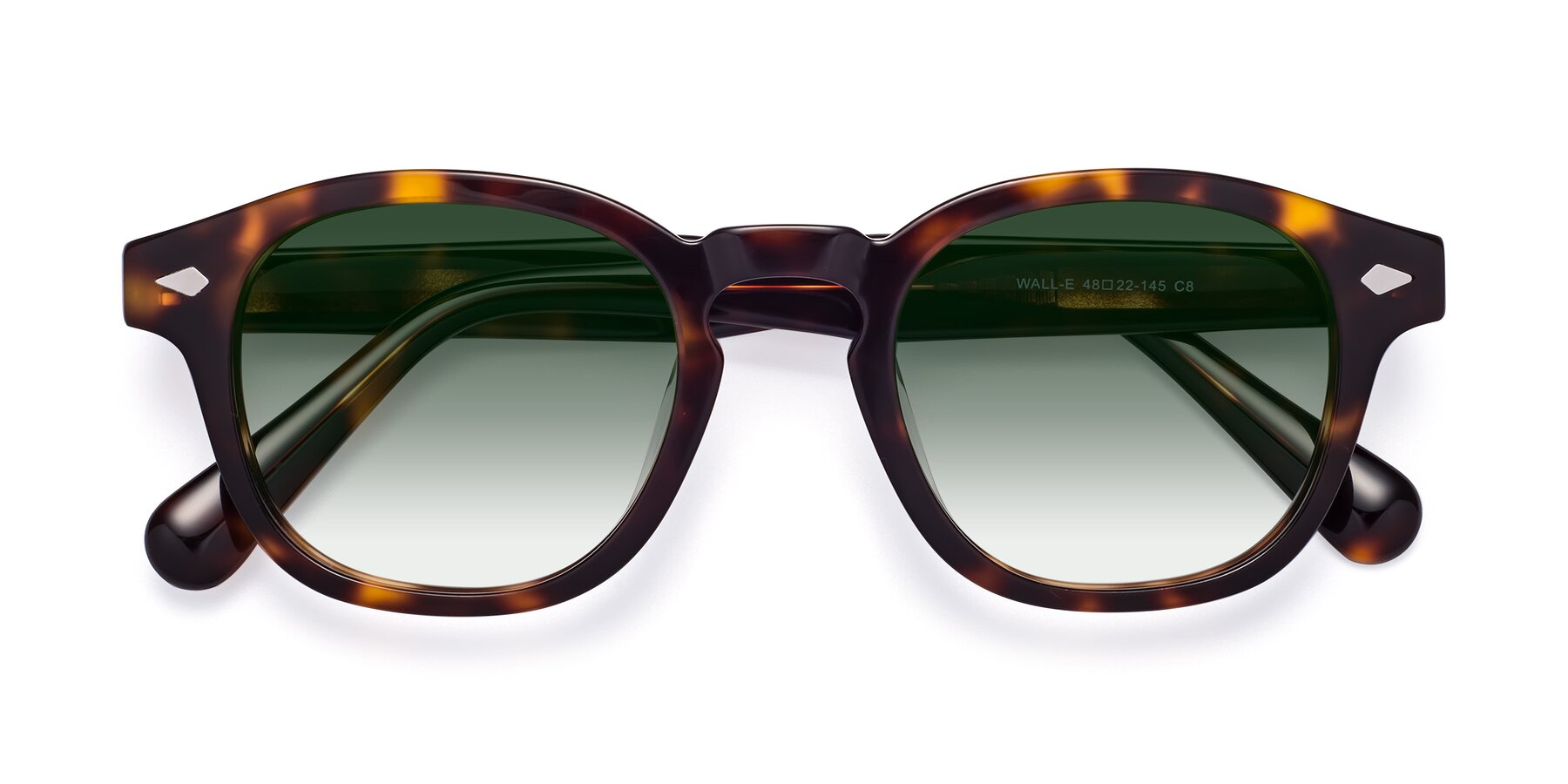 Folded Front of WALL-E in Tortoise with Green Gradient Lenses