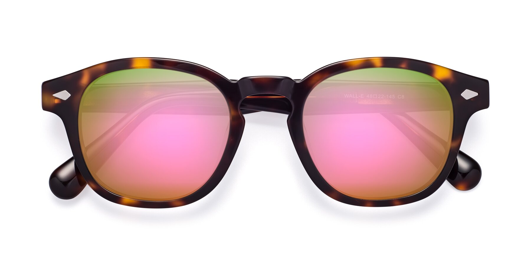 Folded Front of WALL-E in Tortoise with Pink Mirrored Lenses
