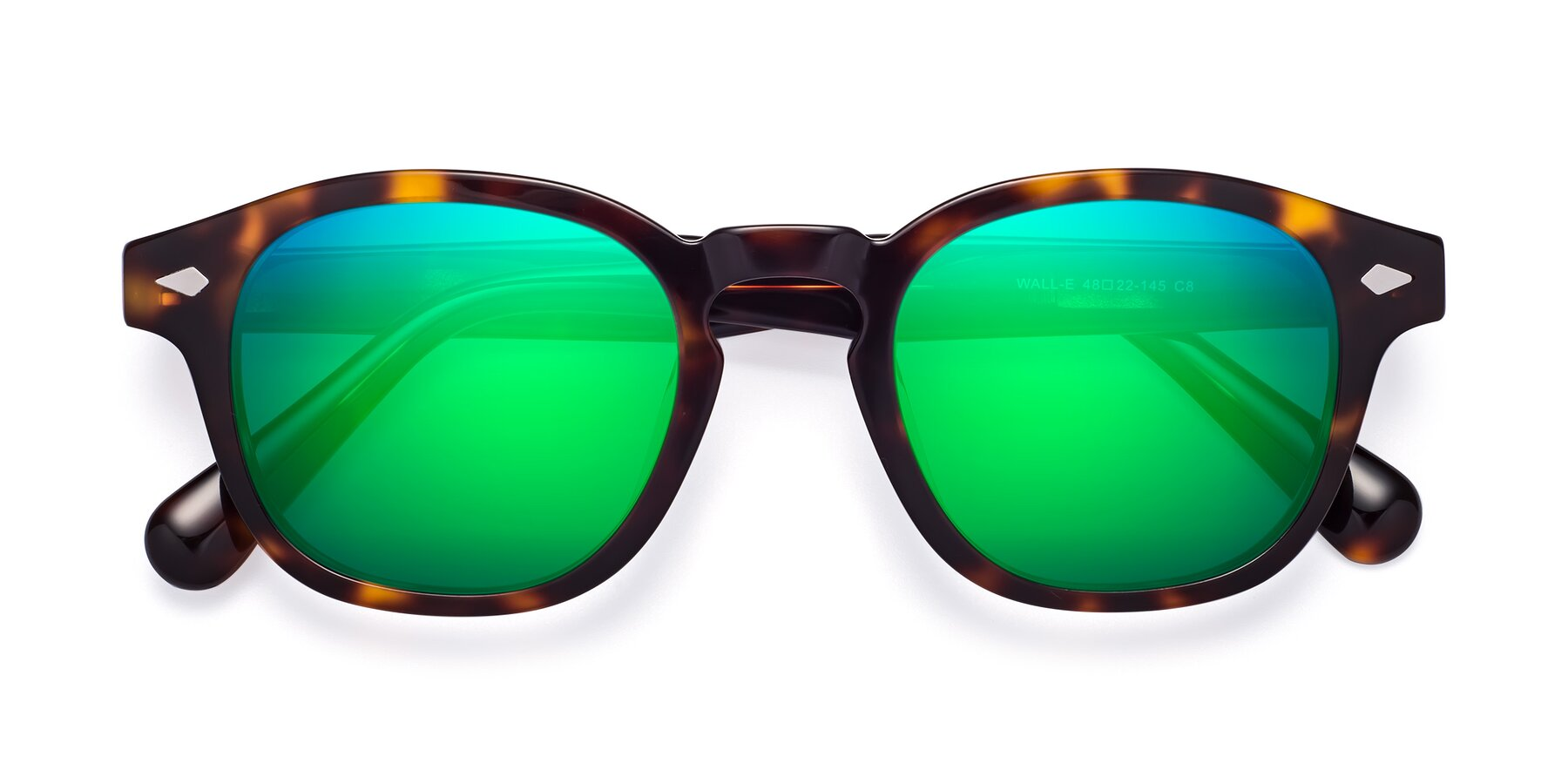 Folded Front of WALL-E in Tortoise with Green Mirrored Lenses