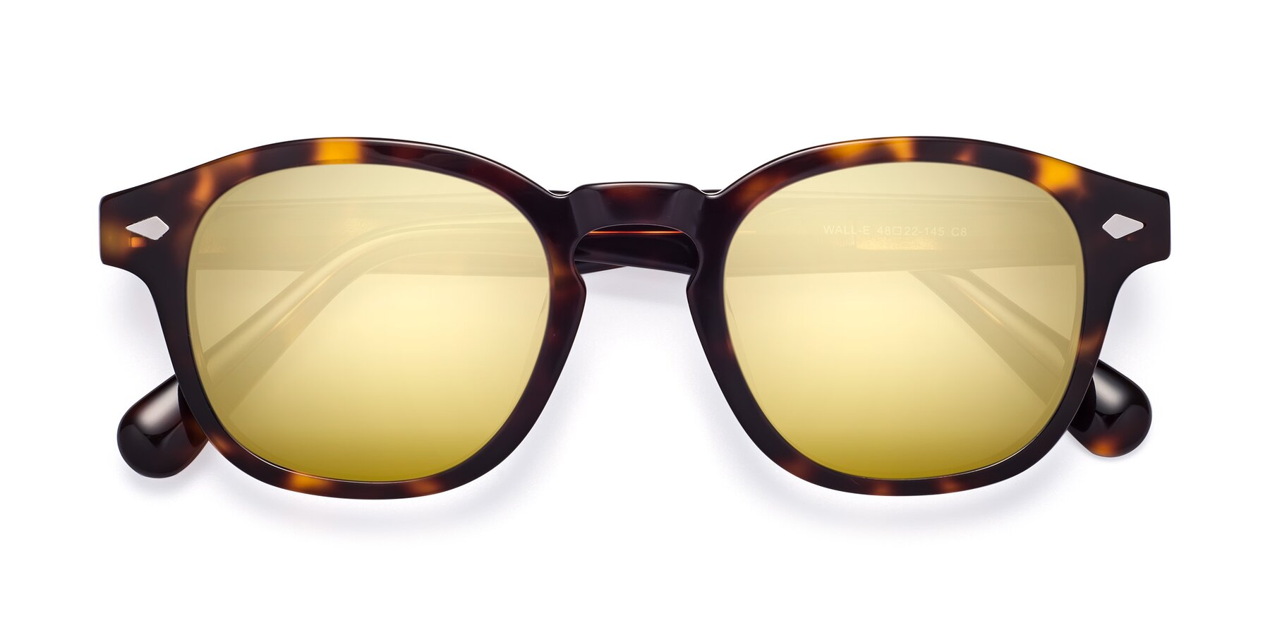 Folded Front of WALL-E in Tortoise with Gold Mirrored Lenses