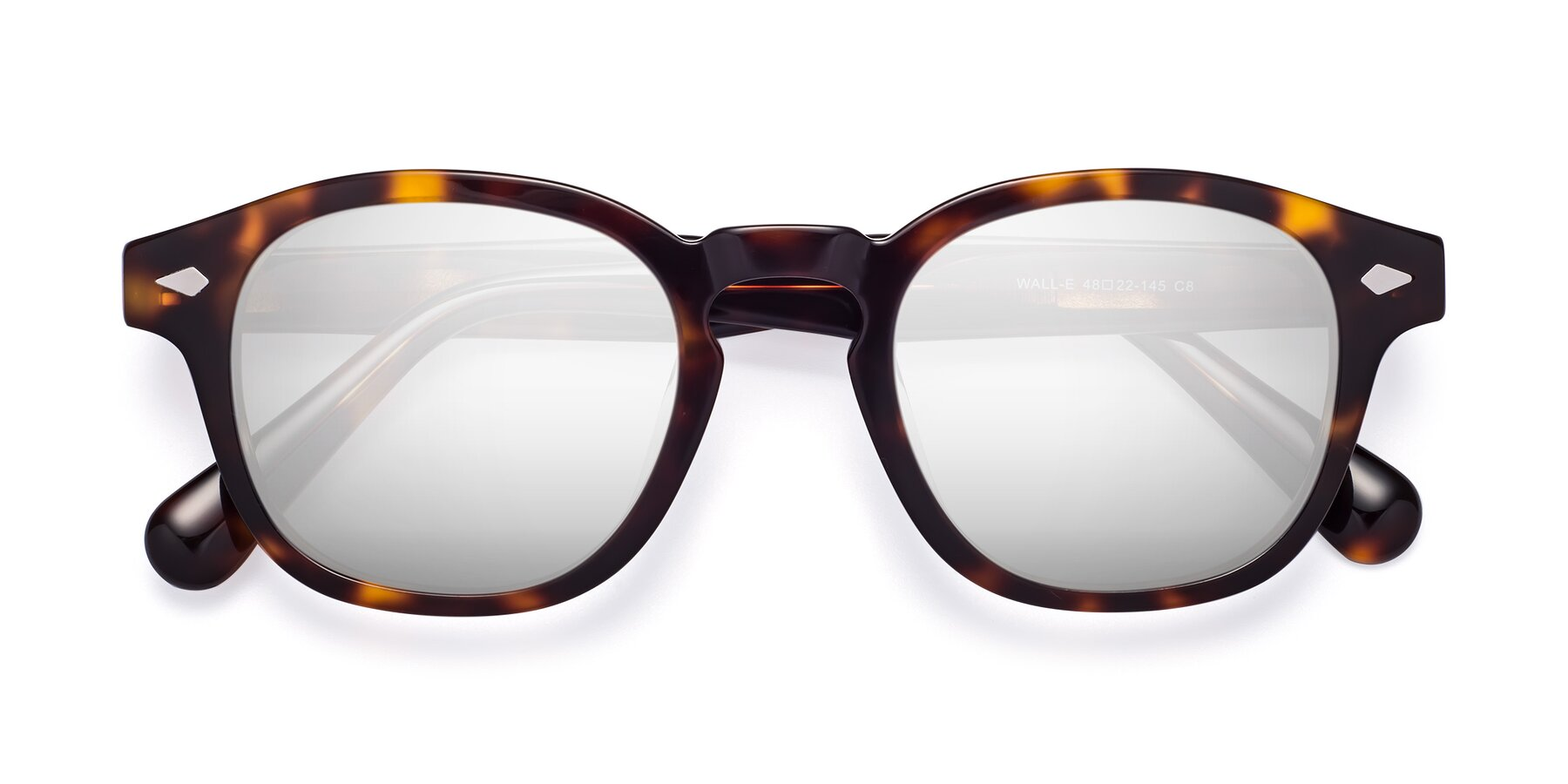 Folded Front of WALL-E in Tortoise with Silver Mirrored Lenses