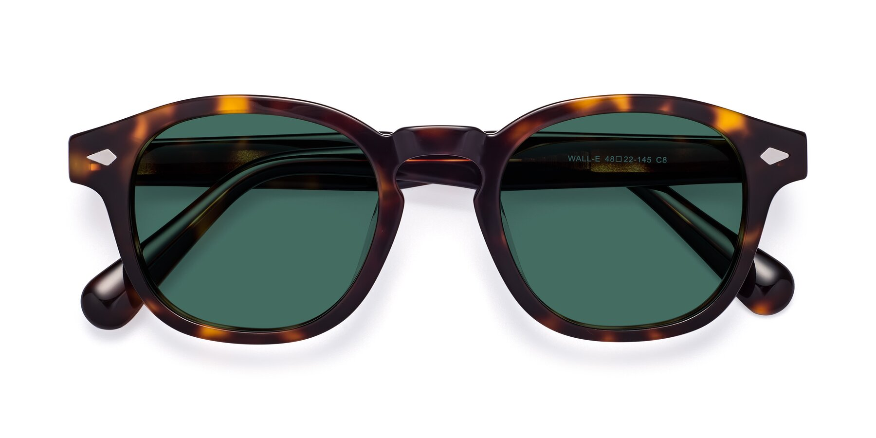 Folded Front of WALL-E in Tortoise with Green Polarized Lenses