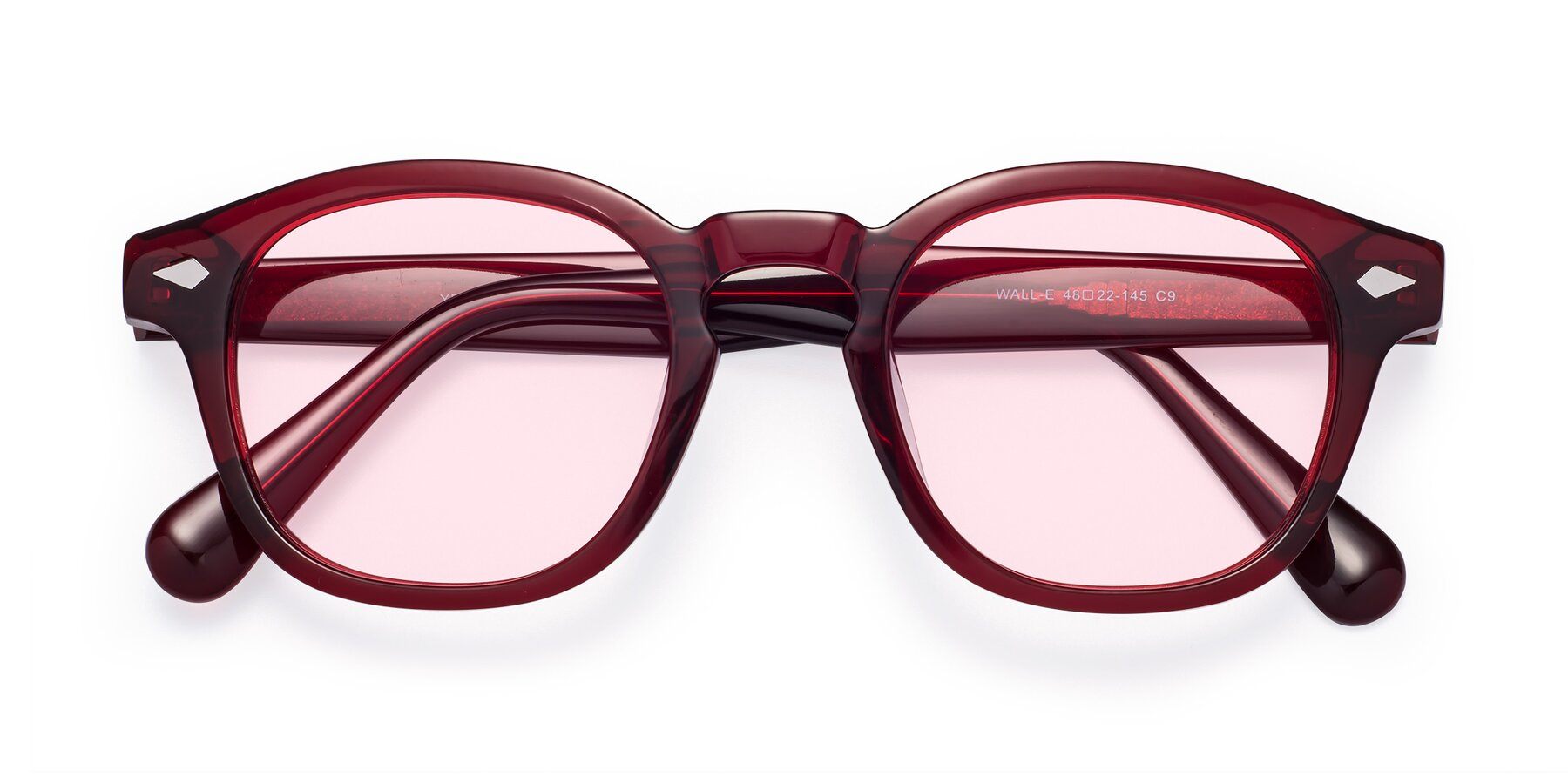 Folded Front of WALL-E in Wine with Light Pink Tinted Lenses