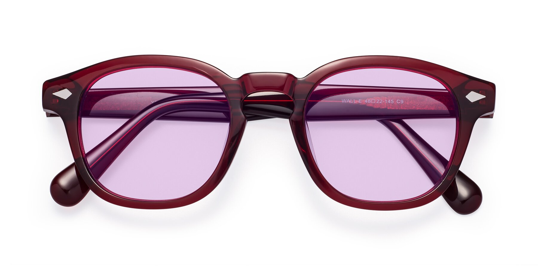 Folded Front of WALL-E in Wine with Light Purple Tinted Lenses