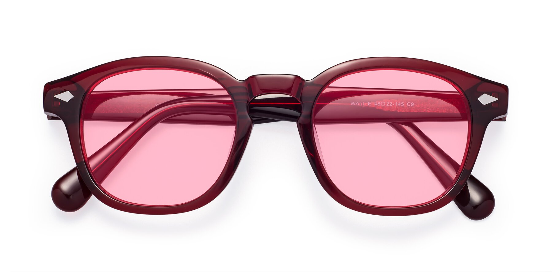 Folded Front of WALL-E in Wine with Medium Pink Tinted Lenses