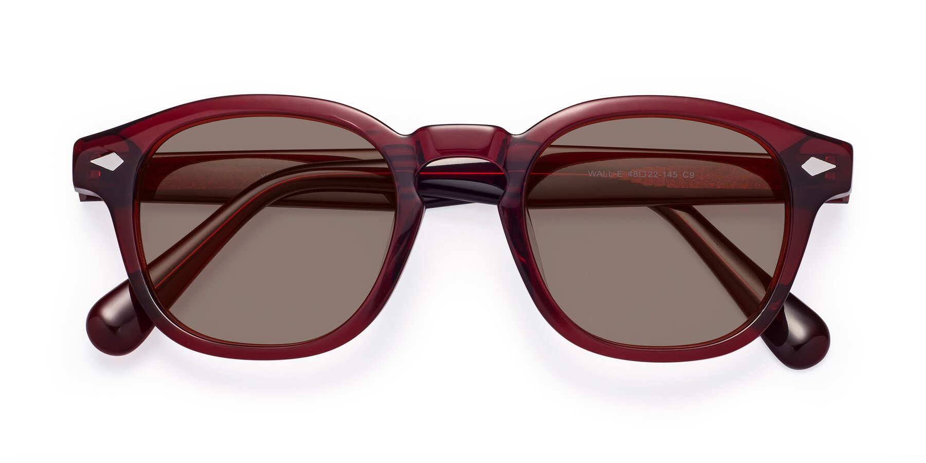 Folded Front of WALL-E in Wine with Medium Brown Tinted Lenses