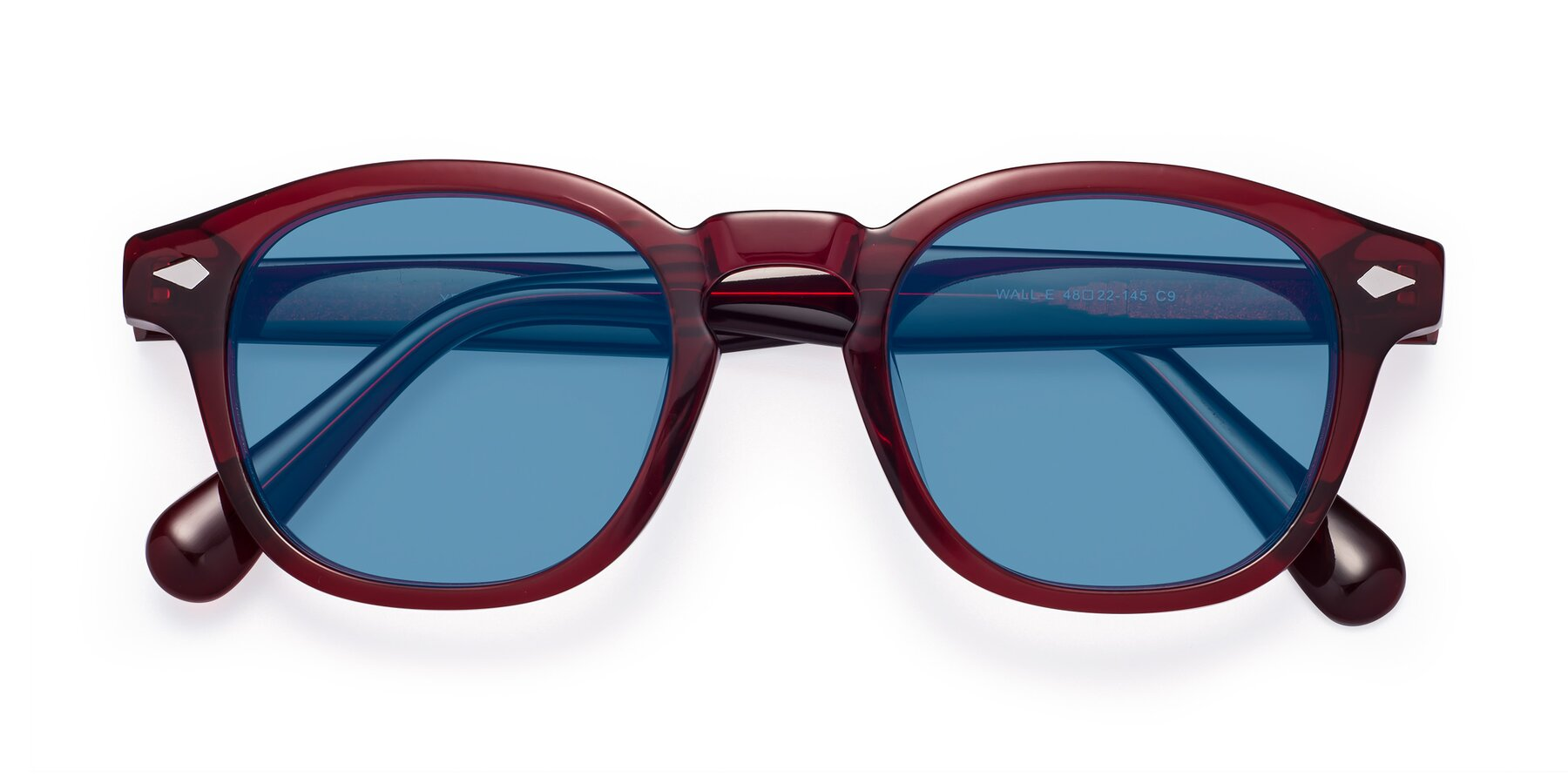 Folded Front of WALL-E in Wine with Medium Blue Tinted Lenses
