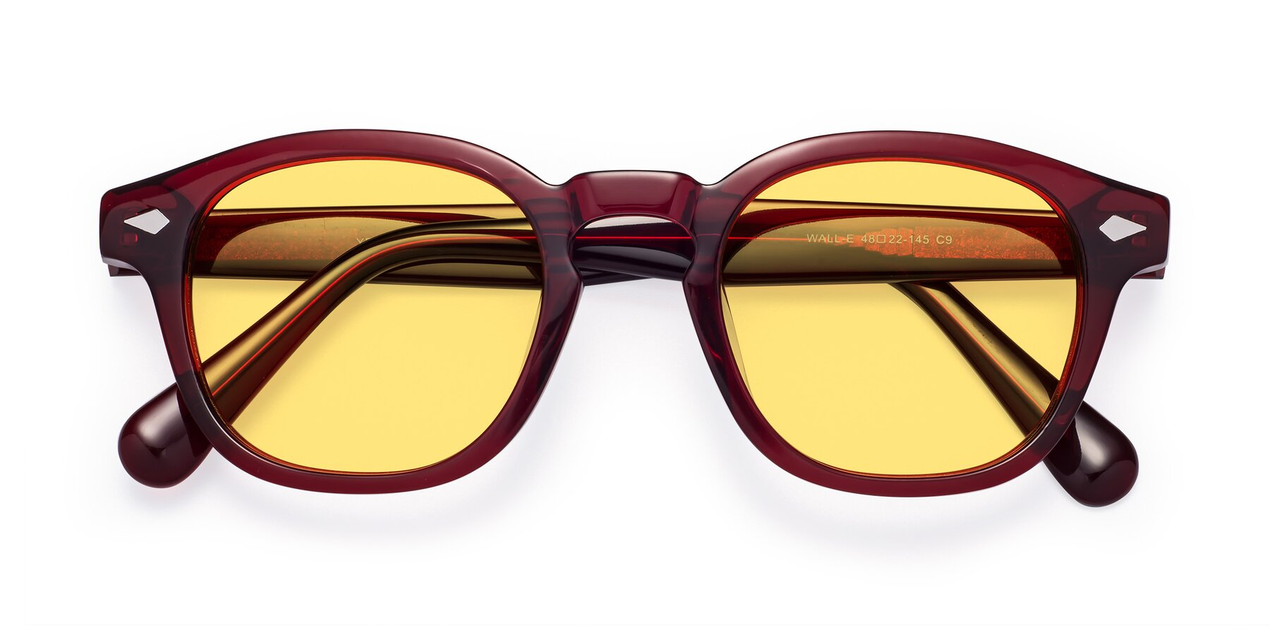 Folded Front of WALL-E in Wine with Medium Yellow Tinted Lenses