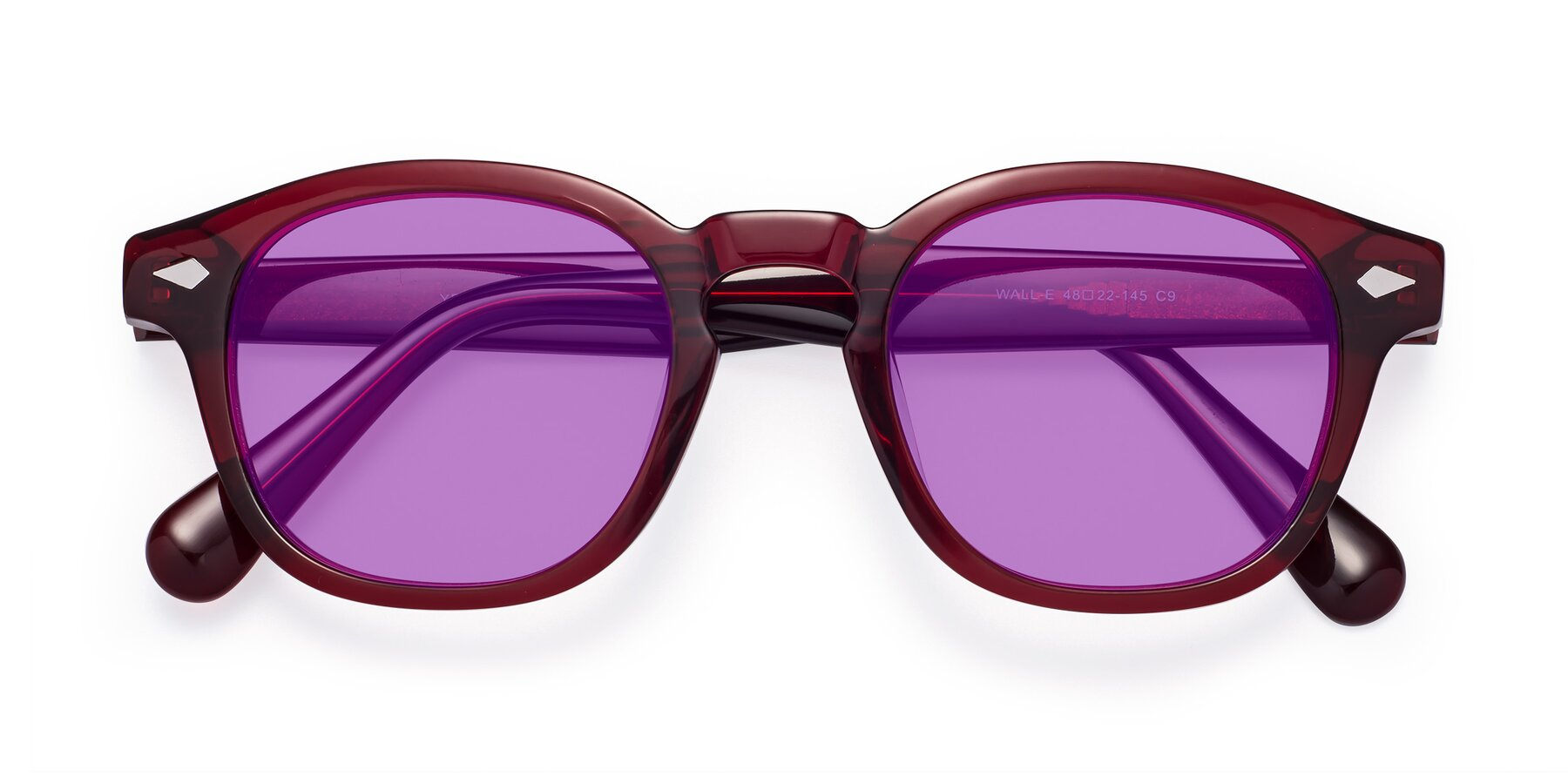 Folded Front of WALL-E in Wine with Medium Purple Tinted Lenses