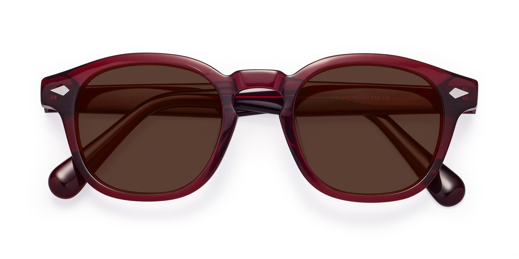 Folded Front of WALL-E in Wine with Brown Tinted Lenses