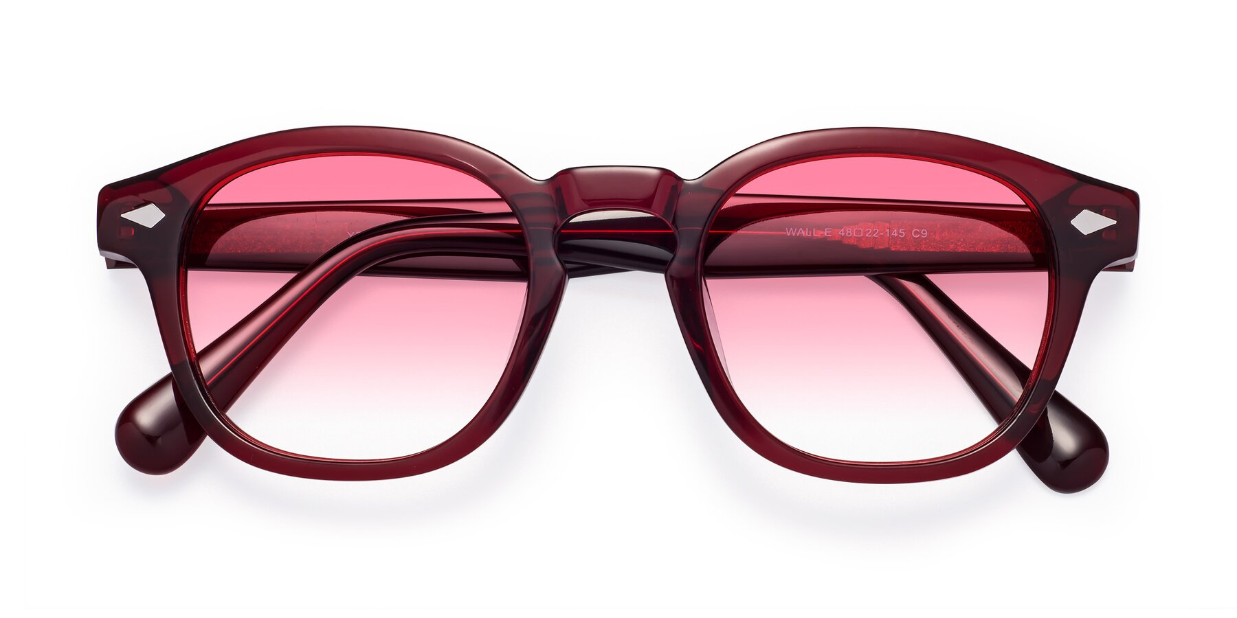Folded Front of WALL-E in Wine with Pink Gradient Lenses