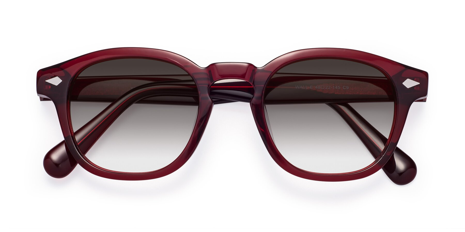 Folded Front of WALL-E in Wine with Gray Gradient Lenses