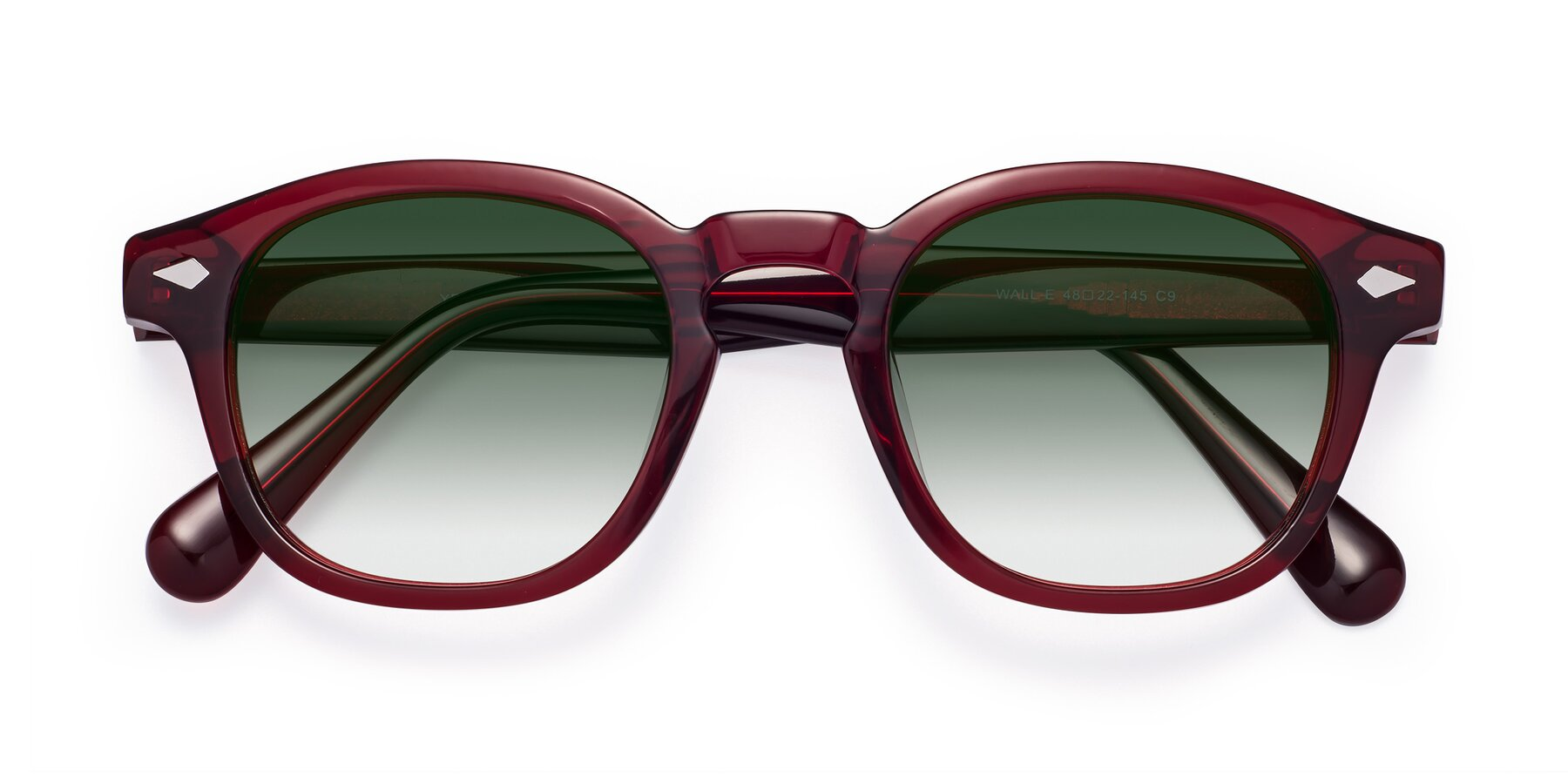 Folded Front of WALL-E in Wine with Green Gradient Lenses