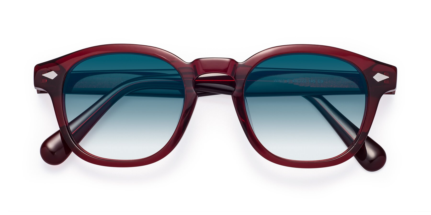 Folded Front of WALL-E in Wine with Blue Gradient Lenses