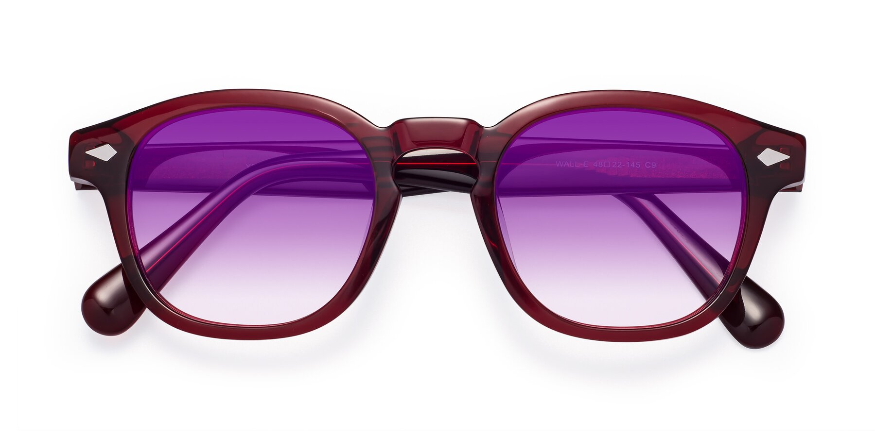 Folded Front of WALL-E in Wine with Purple Gradient Lenses