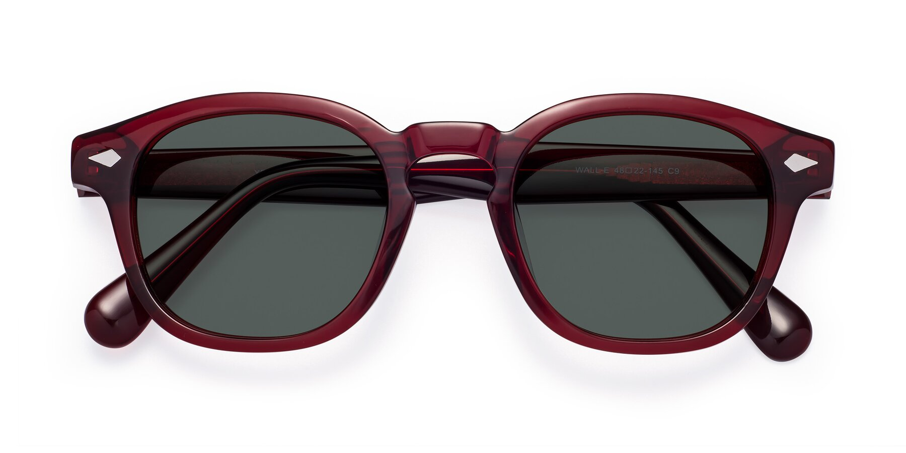 Folded Front of WALL-E in Wine with Gray Polarized Lenses