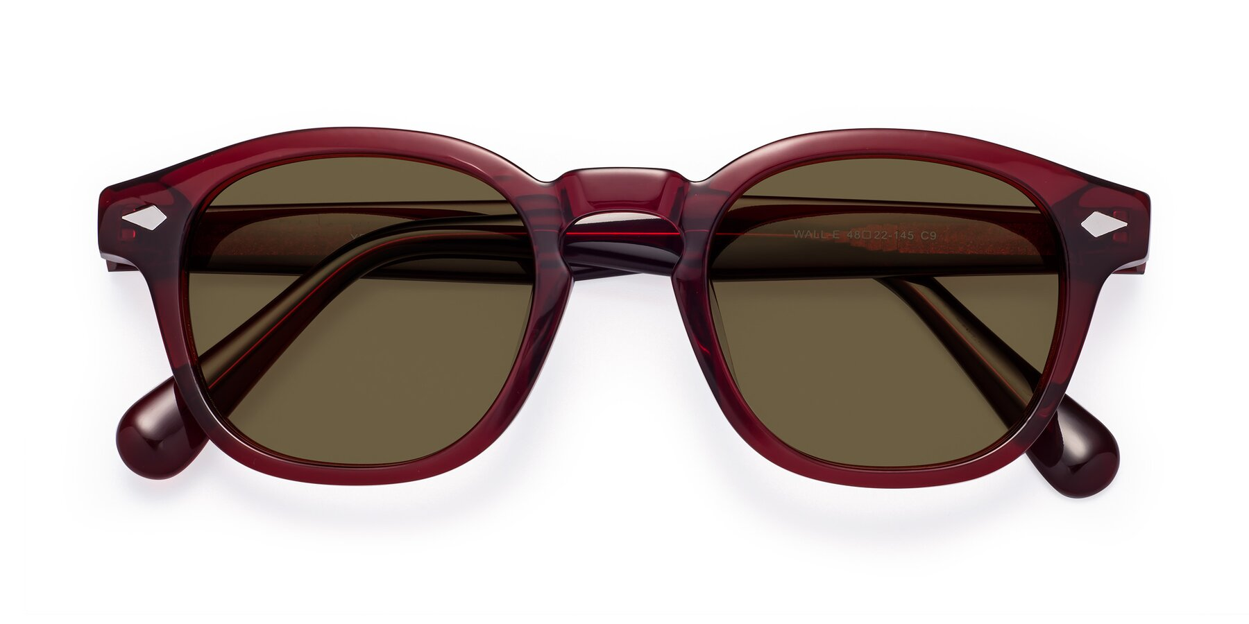 Folded Front of WALL-E in Wine with Brown Polarized Lenses