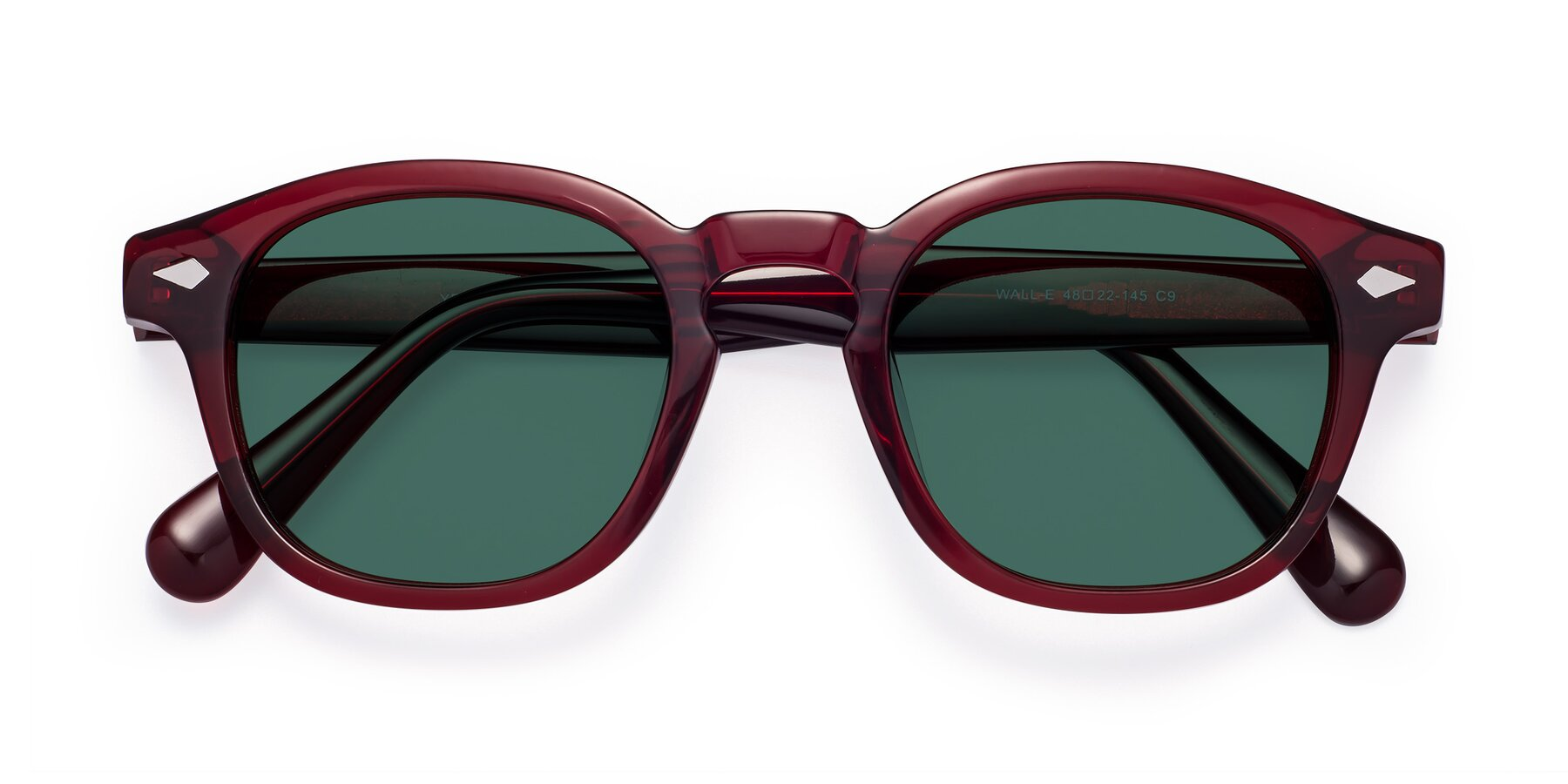 Folded Front of WALL-E in Wine with Green Polarized Lenses