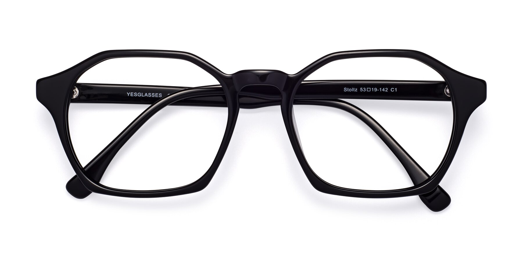 Folded Front of Stoltz in Black with Clear Eyeglass Lenses
