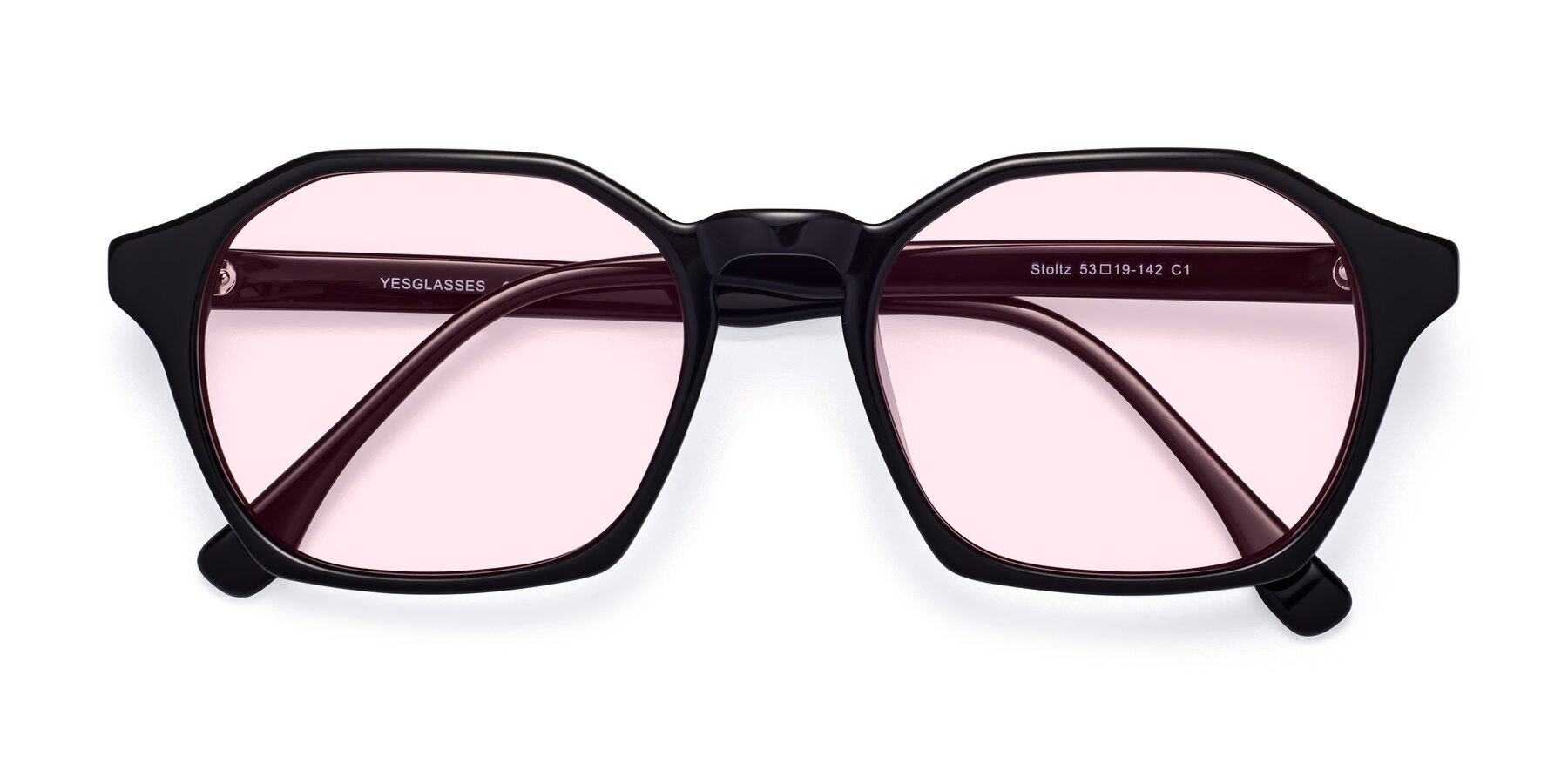 Folded Front of Stoltz in Black with Light Pink Tinted Lenses