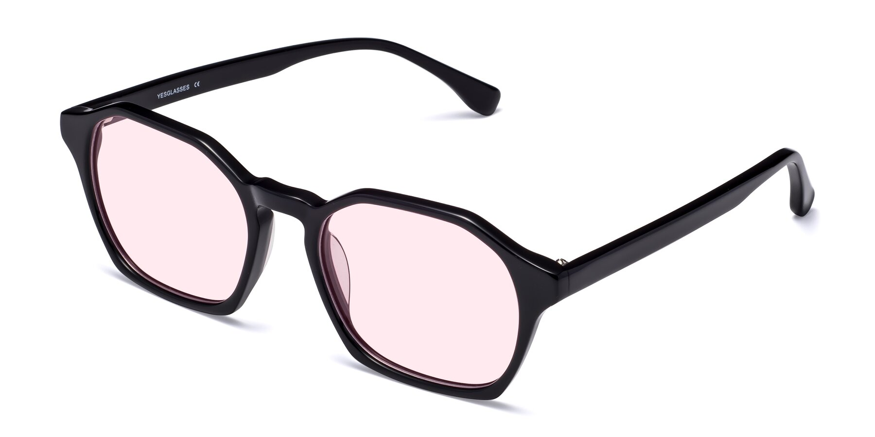 Angle of Stoltz in Black with Light Pink Tinted Lenses