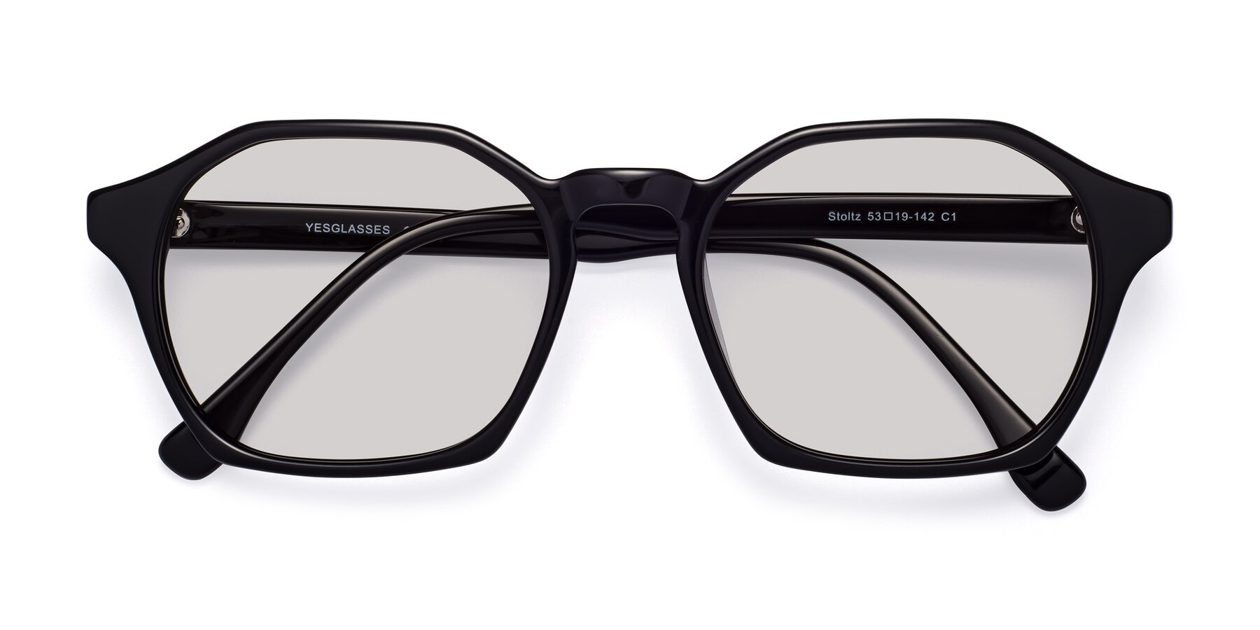 Folded Front of Stoltz in Black with Light Gray Tinted Lenses