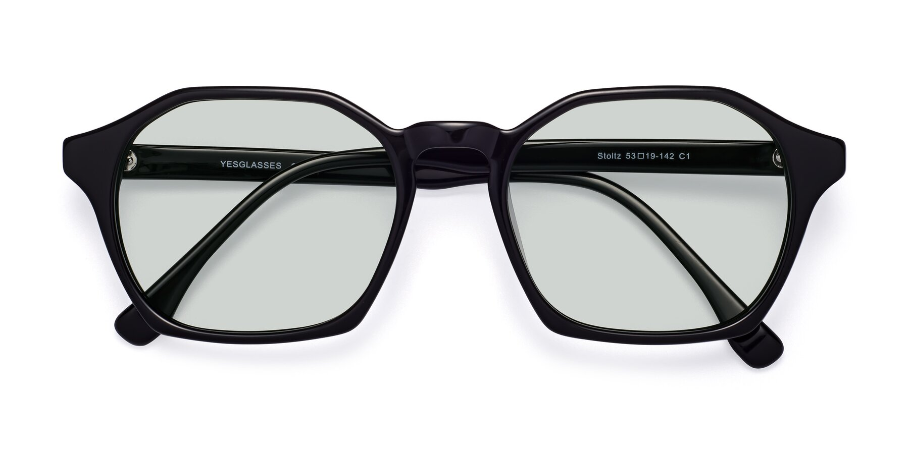 Folded Front of Stoltz in Black with Light Green Tinted Lenses
