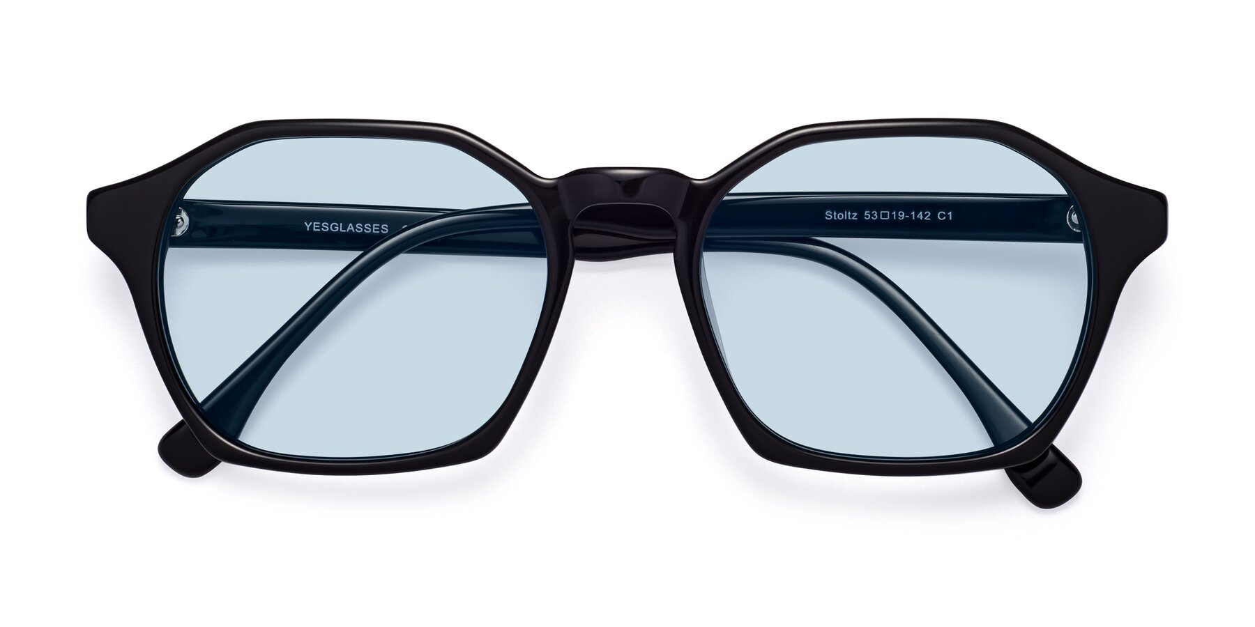 Folded Front of Stoltz in Black with Light Blue Tinted Lenses