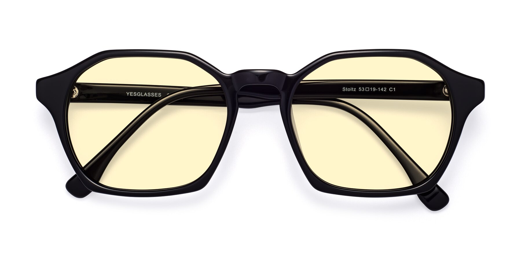 Folded Front of Stoltz in Black with Light Yellow Tinted Lenses