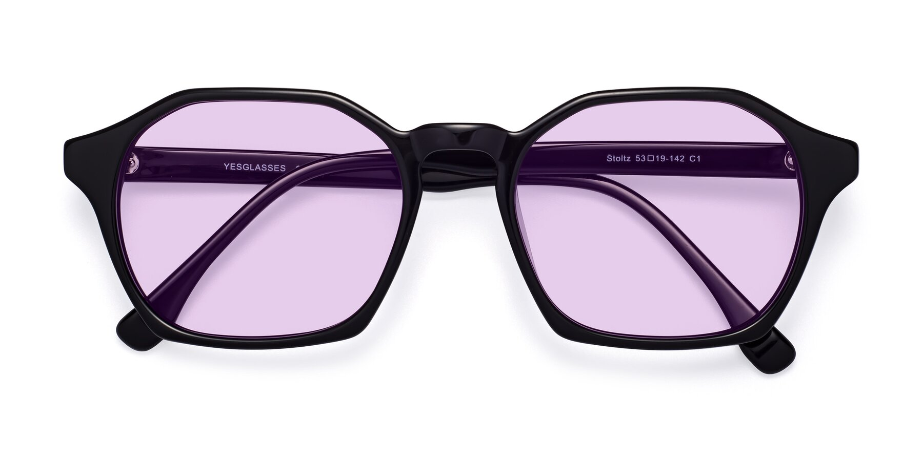 Folded Front of Stoltz in Black with Light Purple Tinted Lenses