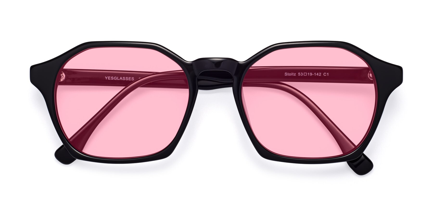 Folded Front of Stoltz in Black with Medium Pink Tinted Lenses
