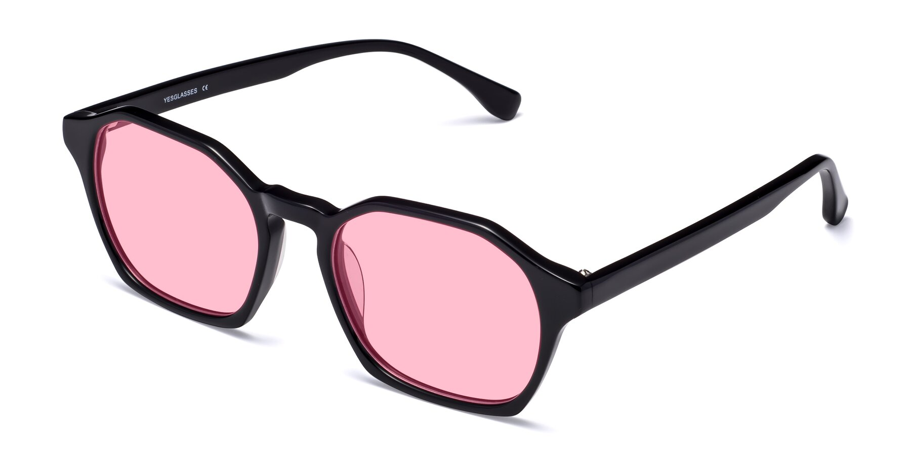 Angle of Stoltz in Black with Medium Pink Tinted Lenses