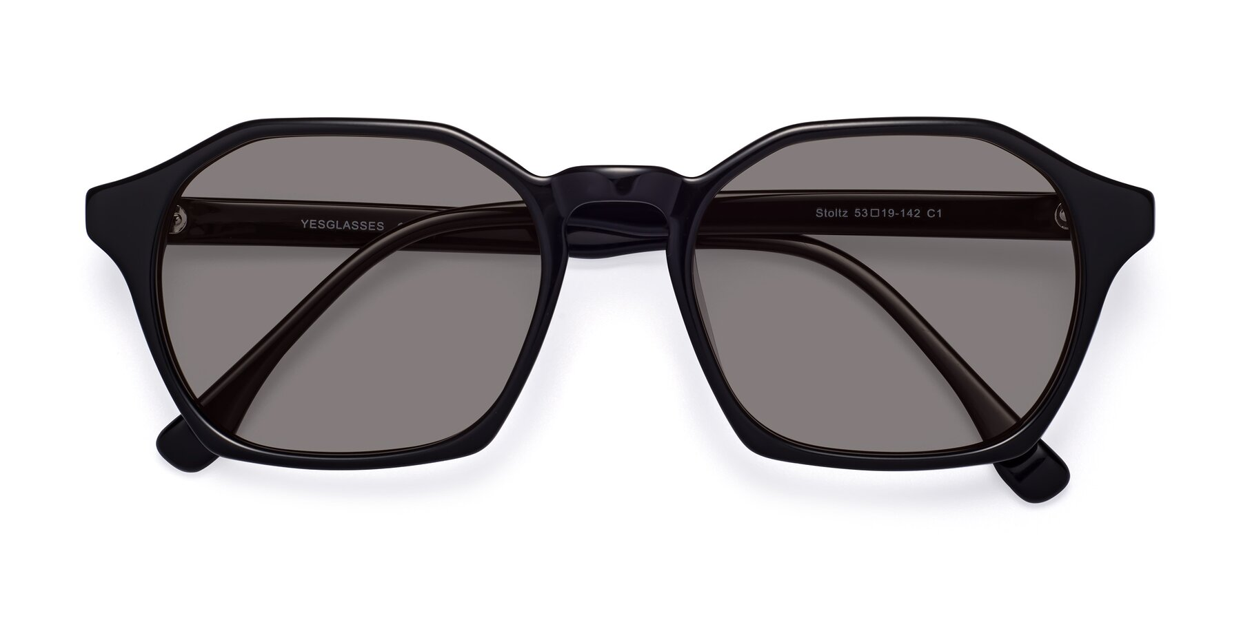 Folded Front of Stoltz in Black with Medium Gray Tinted Lenses