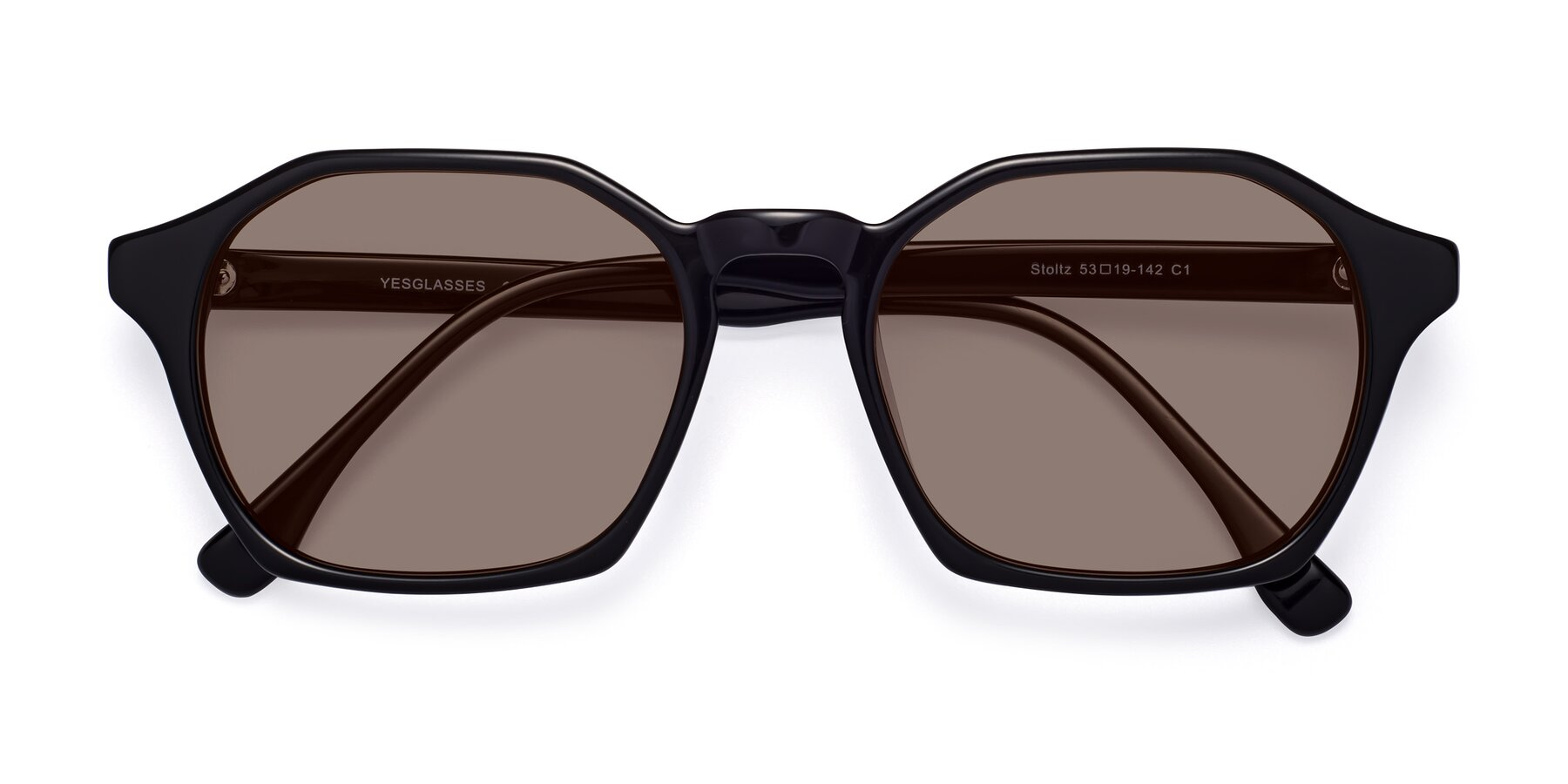 Folded Front of Stoltz in Black with Medium Brown Tinted Lenses